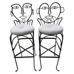 Whimsical Pair of John Risley Style Wrought Iron Bar Stools Mid-Century Modern