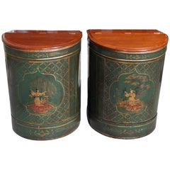 Pair of Chinese Mahogany and Tin Hinged Painted Figural Tea Bins, Circa 1840