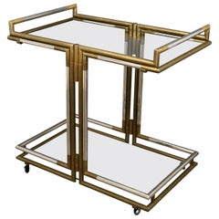 Serving Bar Cart Trolley in Brass and Chrome Hollywood Regency Style, 1970s