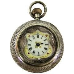 19th Century Swiss Ladies Silver Pocket Watch, Half Hunter – 'EZ' Makers Mark