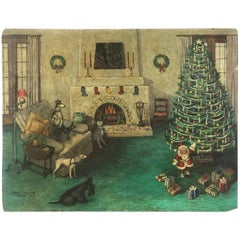 Painting of a Pack of Dogs and a Small Santa on Christmas