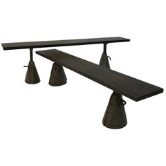 Custom Industrial Ebonized Maple and Steel Benches