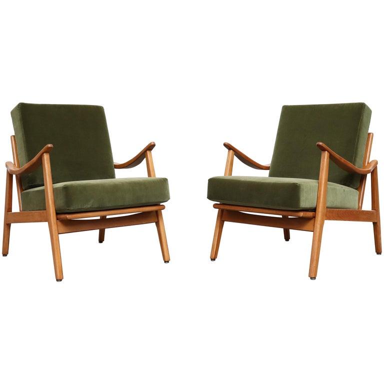 Pair of Green Velvet Lounge Chairs