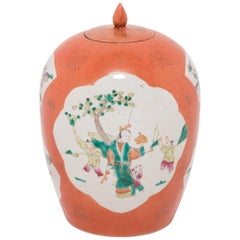 Chinese Persimmon Ovoid Ginger Jar with Cartouche Paintings