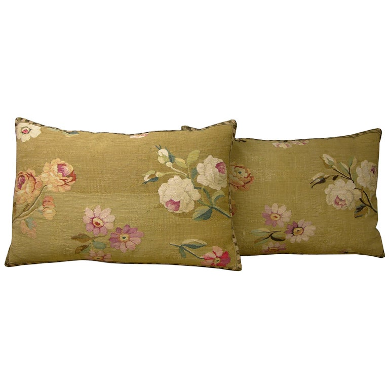 Pair of French Aubusson Pillows, circa 1860 (1706p - 1707p) :  Y & B Bolour