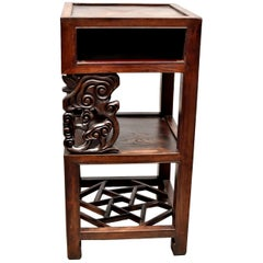 Antique Chinese Square Side Table with Lin Zhi Motif