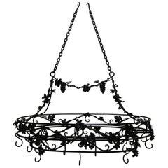 Large Wrought Iron Hanging Pot Rack with Grape Motif