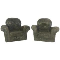 Pair of Miniature Lounge Chair Ceramic Sculptures