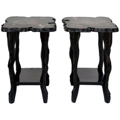 Pair of Black Lacquer Ebonized and Inlaid Wood Organic End Tables
