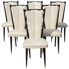 Beautiful Set of Six French Art Deco Solid Mahogany Dining Chairs, circa 1940s