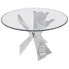 Mid-Century Modern Triple Butterfly Lucite Dining Table or Centre Table