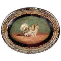 Antique English Pekingese Motif Tole Tray