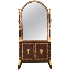 Mahogany Cheval Dressing Mirror Attributed to Georges Jacob