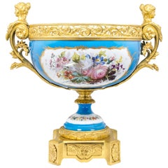 French Sèvres Porcelain in Gilt Bronze Mount, Hand-Painted, France, 1771
