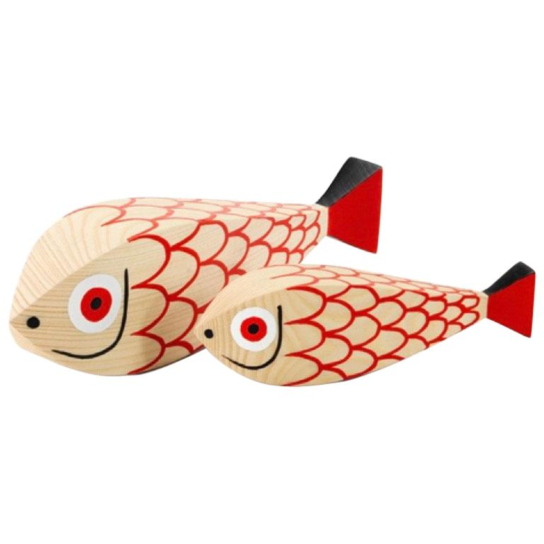 Vitra Wooden Dolls Mother Fish and Child by Alexander Girard For Sale