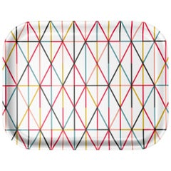 Vitra Medium Classic Tray in Multi-Color Grid Pattern by Alexander Girard