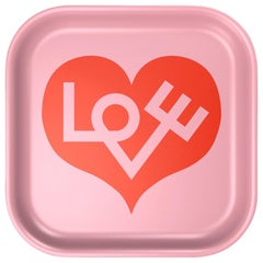 Vitra Small Classic Tray in Pink with Red Heart Design by Alexander Girard