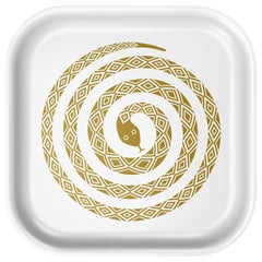 Vitra Small Classic Tray in White with Snake Design by Alexander Girard