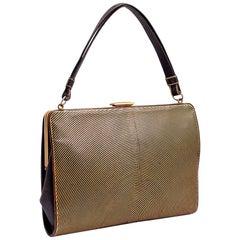 Handbag Josef Hoffmann Leather Gold Embossed Wiener Werkstatte, circa 1924