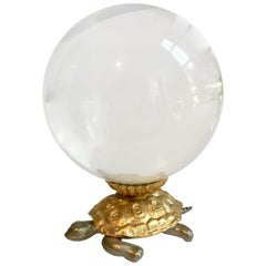 Brass Turtle Carrying Crystal Ball
