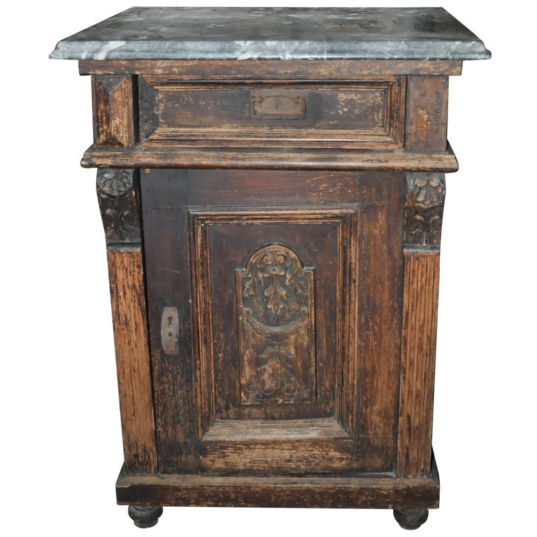 Old German Marble-Top Nightstand Or End Table