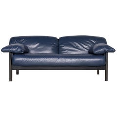 Poltrona Frau Designer Leather Two-Seat Couch Blue