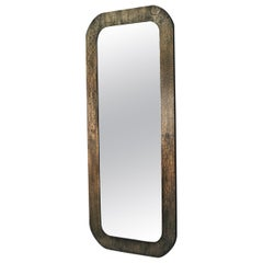 Acid Ecthed Patinated Brass Wall Mirror by Studio Belgali