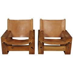 Rare Pair of Vintage Dutch Easy Chairs Designed by Ate Van Apeldoorn, 1970s