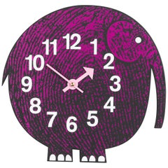 Vitra Zoo Timers Elihu the Elephant Wall Clock in Pink & Black by George Nelson