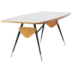 Italian Mid-Century Modern Table with Grey Glass, Iron Frame and Oak, 1950s