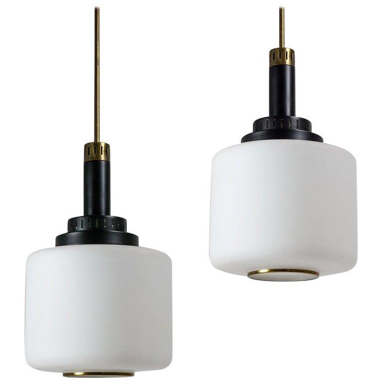 Pair of 1950s Stilux Pendants, Satin Glass, Brass, Lacquered Aluminium For Sale
