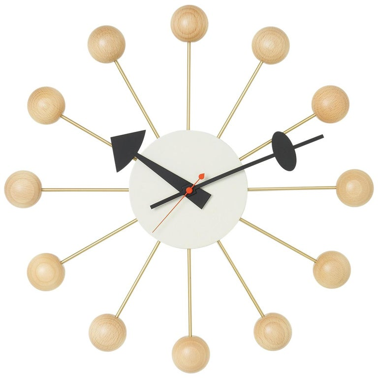 Vitra Ball Wall Clock in Beech Wood & White with Black Hand by George Nelson For Sale