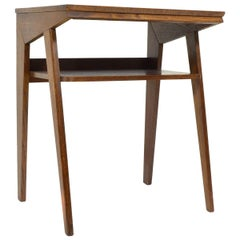 Darked Stained Oak Side Table, 1970s