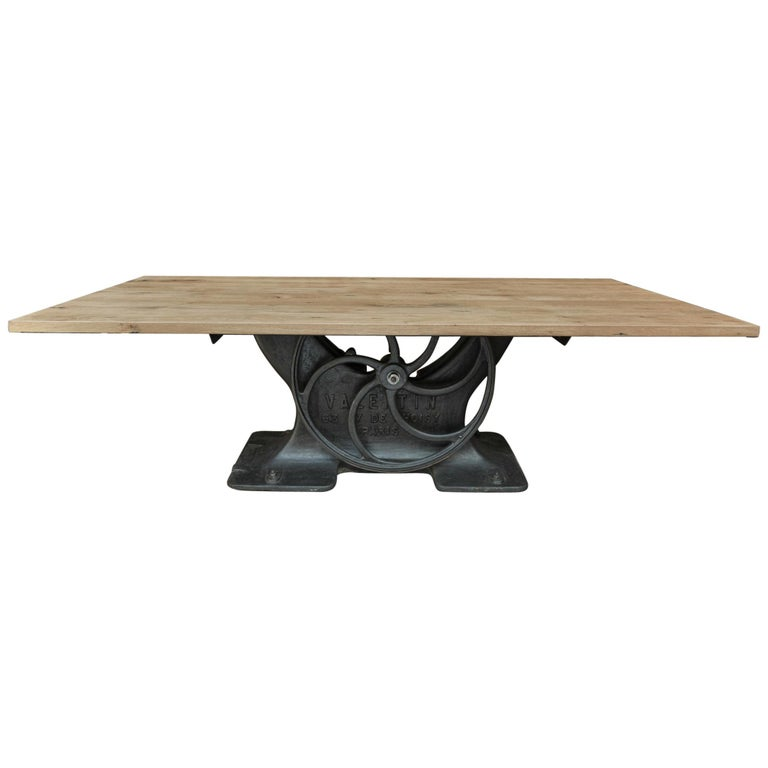 Industrial Valentin Paris, 1900 Cast Iron Base and Solid Oak Dining Table For Sale