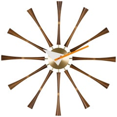 Vitra Spindle Wall Clock in Solid Walnut & Aluminum by George Nelson