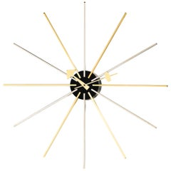 Vitra Star Wall Clock in Chrome and Brass by George Nelson