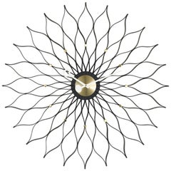 Vitra Sunflower Wall Clock in Black Ash and Brass by George Nelson