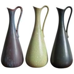 1950s Gunnar Nylund Scandinavian Midcentury Set Stoneware Vases for Rörstrand