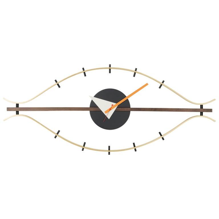Vitra Eye Wall Clock in Brass and Walnut with Orange Hand ...