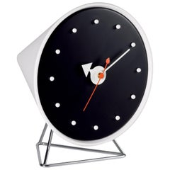 Vitra Cone Desk Clock in White & Black with Orange Hand by George Nelson