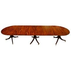 12 Seat Mahogany 3 Pillar Dining Table