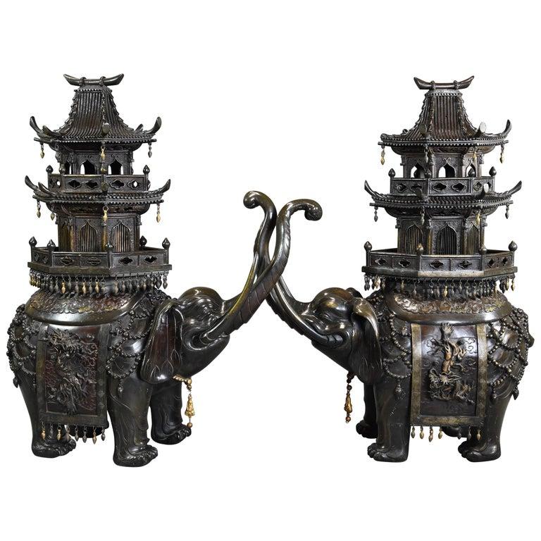 Pair of Large 19th Century Japanese Meiji Bronze Elephant Incense Burners