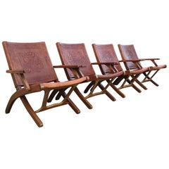 Set of Four Exceptional Folding Chairs by Angel I. Pazmino for Muebles de Estilo