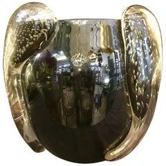 Iridescent Mirrored Murano Glass Italian Vase Signed by Costantini Murano, 1950s