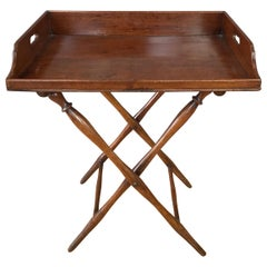 English Victorian Mahogany Butler's Tray Table with Folding Base