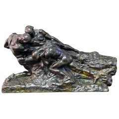"""L'Effort,"" Large Art Deco Bronze with Nude Males in Common Cause"