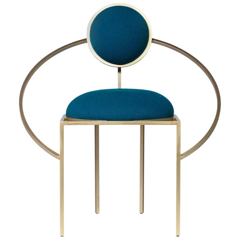 Lara Bohinc, Orbit Chair, Coated Steel and Wool Fabric, Blue