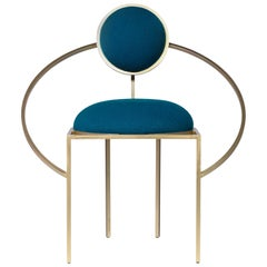 Lara Bohinc, Orbit Chair, Brushed Brass and Blue Wool Fabric