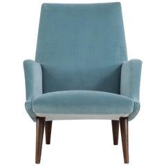 "Carlo de Carli Italian Light Blue Chair ""Model 806"", made by Cassina, 1955"