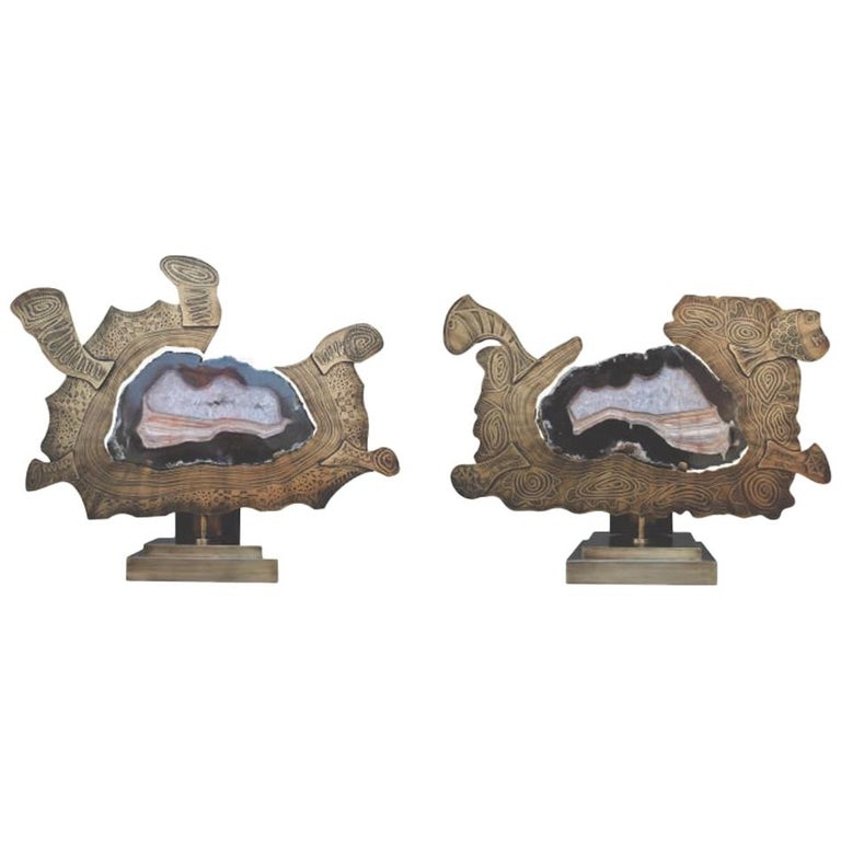 Pair of Matching Anemon Agate Stone Slice with Brass on Decorative Stand For Sale